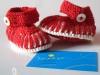Merino Babyschuhe rot-weiß